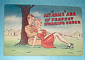 Woman & Soldier Sitting Together Under A Tree Postcard