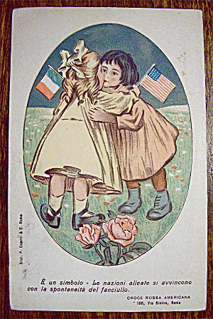 Two Girls Hugging While Holding Flags Postcard (Image1)