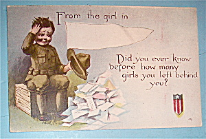Soldier Boy Looking Through Mail Postcard (Image1)