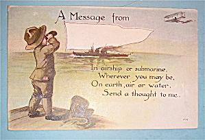 Soldier Boy Sending Out A Message Postcard (Image1)