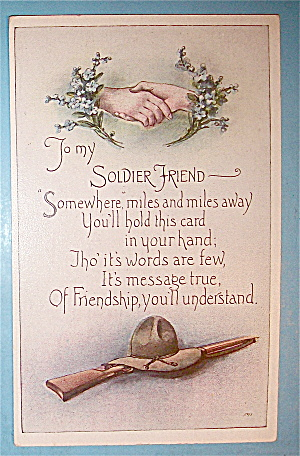 To My Soldier Friend Postcard With Hands Shaking (Image1)