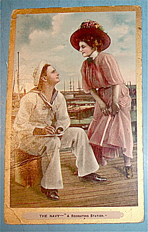 A Sailor And A Woman Talking Postcard (Image1)