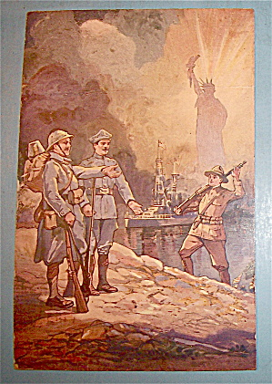 Military Man Standing Near The Statue Liberty Postcard (Image1)
