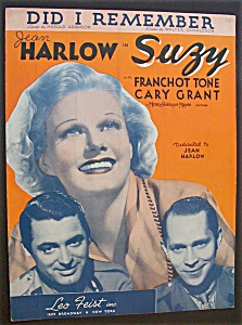 Sheet Music For 1936 Did I Remember