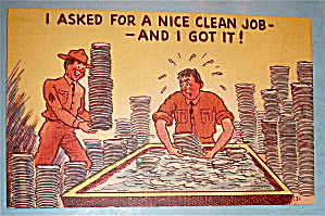 A Soldier Washing Dishes Postcard (Image1)