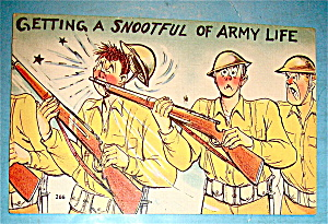 Soldier Getting Hit In Nose By Gun Postcard (Image1)