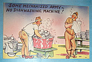 Two Soldiers Washing Dishes Postcard (Image1)