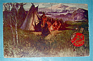 Indians Around A Campfire Postcard
