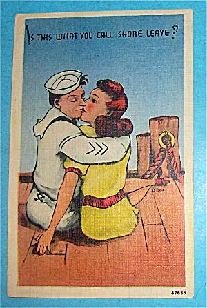 Navy Man & His Lady Hugging & Kissing Postcard (Image1)