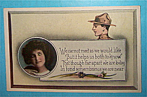 To My Soldier Boy Postcard with Woman's Face (Image1)