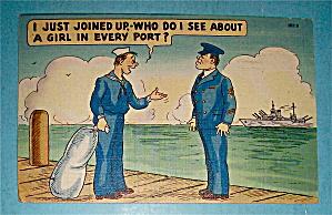 Two Service Men Talking On Pier Postcard (Image1)
