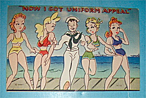 Sailor Walking with Four Women Postcard (Image1)