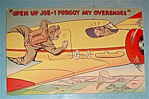 Military Man Banging On Airplane Door Postcard (Image1)