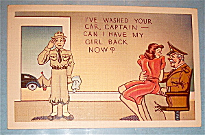 Soldier Looking At Girl On Captain's Lap Postcard (Image1)
