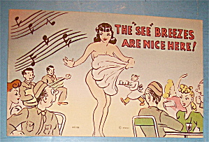 Soldiers Are Watching A Fan Dancer Postcard (Image1)