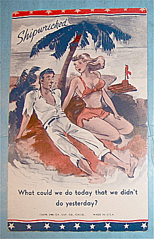 Shipwrecked Postcard with Woman & Man (Image1)