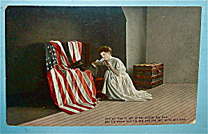 Woman Looking At A Flag With A Soldier's Hat Postcard (Image1)