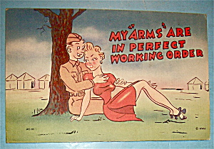 A Soldier & Woman Sitting Under Tree Postcard (Image1)