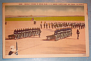 Weekly Parade In Dress Blue Postcard-U. S. Marine Corps (Image1)