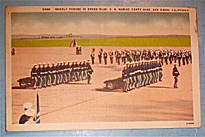 Weekly Parade In Dress Blue Postcard-U. S. Marine Corps (Image1)