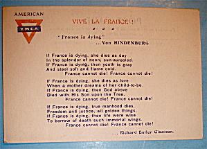 Vive La France, American Y.M.C.A Postcard (Image1)