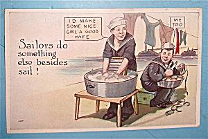 Sailor Washing Clothes/Sailor Peeling Potatoes Postcard (Image1)