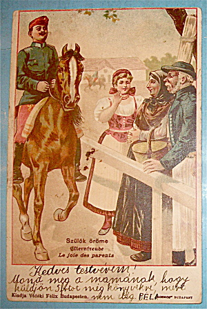 A Man Goes By On Horse While People Watch Postcard