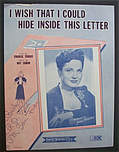 Sheet Music-i Wish That I Could Hide Inside This Letter