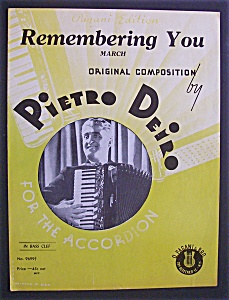 Sheet Music For 1928 Remembering You March