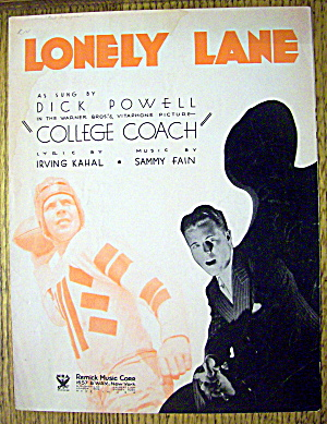 1933 Lonely Lane By Irving Kahal & Sammy Fain