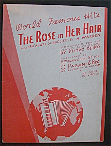 Sheet Music For 1935 The Rose In Her Hair
