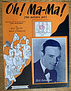 Sheet Music For 1938 Oh Ma - Ma (The Butcher Boy)