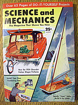 Science And Mechanics August 1954 Speedy Scow Sailer