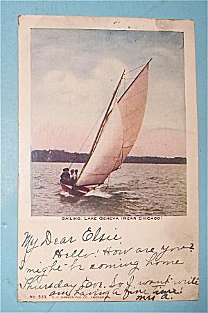 Sailing, Lake Geneva (Near Chicago) Postcard (Image1)