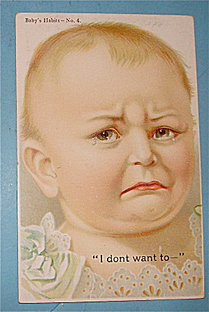 Cute Baby With Tears In Their Eyes Postcard