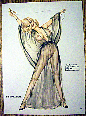 Alberto Vargas Pin Up Girl-January 1974-New Year's Eve (Image1)
