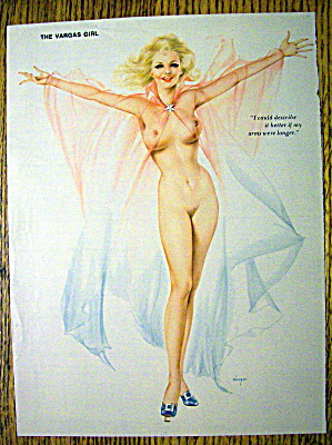 Alberto Vargas Pin Up Girl-august 1976-woman & Arms Up
