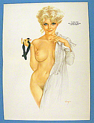 Alberto Vargas Pin Up Girl-january 1970-woman With Tie