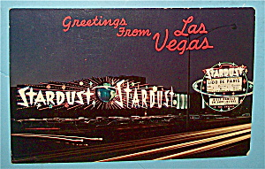 Stardust Casino at Night (Las Vegas) Postcard (Image1)