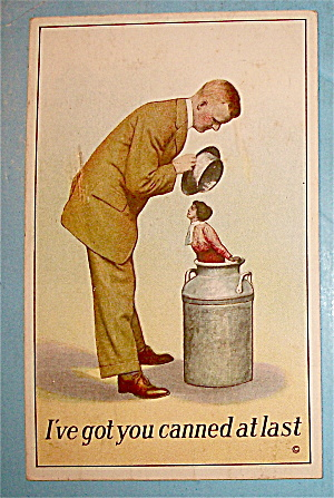 Woman In Milk Can (Young Lovers) Postcard