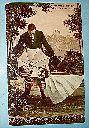 Courting The Girl In The Hammock Postcard