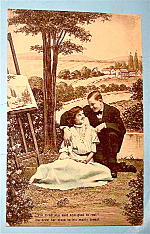 Man & Woman Sitting Under A Tree Postcard