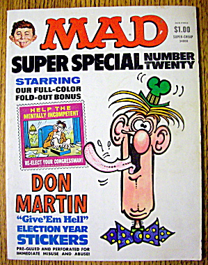 Mad Magazine #20 1976 (Super Special) Election Stickers