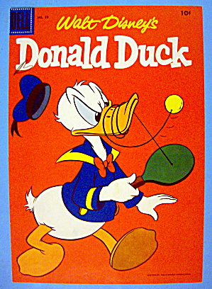 Donald Duck Comic Cover #50 1950's Donald & Paddle Ball