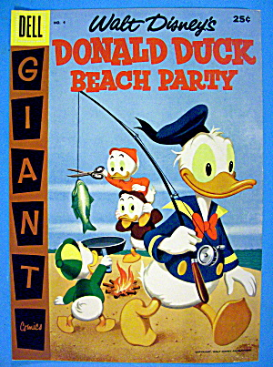 Donald Duck Beach Party Comic Cover #4 1957
