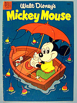 Mickey Mouse Comic Cover June-july 1955 Mickey In Boat