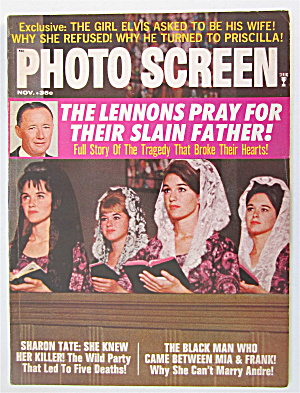 Photo Screen Magazine November 1969 Lennon Sisters Pray