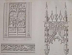 Stalles, Dans La Cathedrale D'Amiens (1852 Lithograph) (Image1)