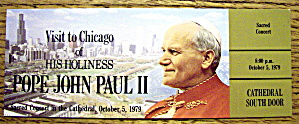 Pope John Paul Ii Concert Ticket October 5, 1979