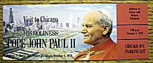 Pope John Paul Ii Concert Ticket October 4, 1979